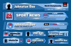 Obniża trzeci sztandary, tv sporta wiadomości barów szablon ilustracji