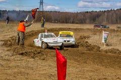 OBNINSK, ΡΩΣΙΑ - ΤΟΝ ΑΠΡΊΛΙΟ ΤΟΥ 2015: Πλαϊνά autocross στοκ φωτογραφίες με δικαίωμα ελεύθερης χρήσης