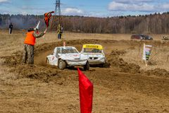 OBNINSK, RÚSSIA - EM ABRIL DE 2015: Autocross fora de estrada fotos de stock royalty free