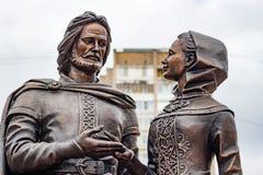 Obninsk, Rusia - 18 de noviembre de 2017: Monumento al príncipe piadoso santo Peter y a princesa Febronia de Murom imagen de archivo libre de regalías