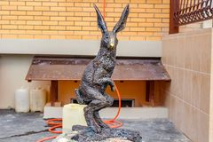 OBNINSK, RUSSIA - AUG. 2017: Sculpture of a hare stock images