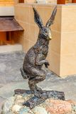 OBNINSK, RUSSIA - AUG. 2017: Sculpture of a hare royalty free stock image