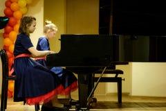 OBNINSK, RUSSIA - MARCH 8, 2018: Celebratory concert in children stock photos