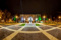OBNINSK, RUSSIA - OCTOBER 2016: Treugolnaya square and Monument to the Pioneers of Nuclear Energy in Obninsk. Panorama or Treugolnaya square and Monument to the royalty free stock images