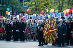 OBNINSK, RUSSIE - 9 MAI 2015 : Participants à Victory Parade Images stock