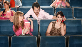 Obnoxious Man in Theater stock image