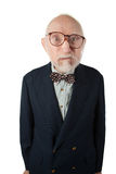 Obnoxious Senior Man. With Bow Tie on White Background Stock Images