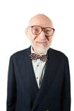 Obnoxious Senior Man. With Bow Tie on White Background Royalty Free Stock Images