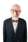 Obnoxious Senior Man. With Bow Tie on White Background Royalty Free Stock Photo