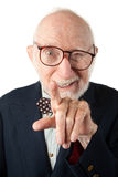 Obnoxious Senior Man. With Bow Tie on White Background Royalty Free Stock Photos