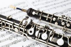 Oboé dos instrumentos da música clássica imagens de stock