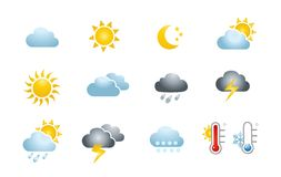 obłocznych ikon podeszczowa słońca pogoda Obraz Stock