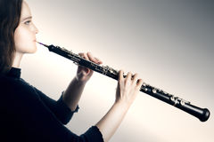 Oboe classical orchestra musician Royalty Free Stock Photography