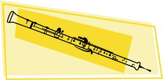 Oboe icon. Line drawing of a oboe wood wind musical instrument Royalty Free Stock Photography