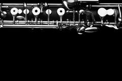 Oboe music black background Stock Photography