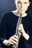 Oboe musical instrument playing oboist Royalty Free Stock Photography