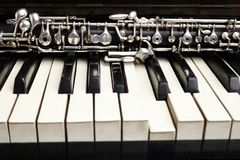 Oboe and piano classical instruments Stock Images