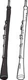 Oboe On White Background. Hand drawn oboe cartoon on isolated background Stock Photos