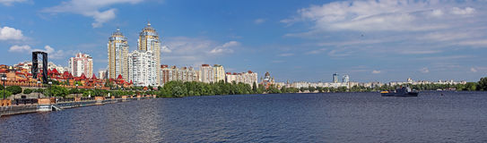 Obolon embankment in the spring, Kyiv Royalty Free Stock Image
