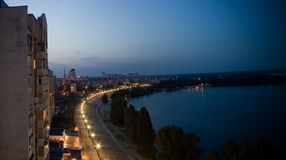Obolon quay night panorama stock images