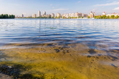 Obolon Skyline Close to the Dnieper River in Kiev Royalty Free Stock Image