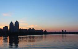 Obolon skyline near the Dniepro river in Kyiv, Ukraine Stock Photography