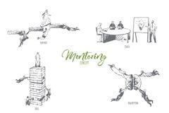 Obowiązki mentora, poparcie, trener, umiejętność, brainstorm pojęcia nakreślenie ilustracji