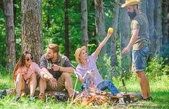 Obozować i Wycieczkować Firma przyjaciele relaksuje przekąski natury pyknicznego tło i ma Wielki weekend w naturze firma zdjęcia royalty free