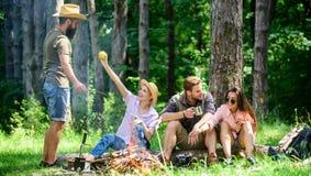 Obozować i Wycieczkować Firma przyjaciele relaksuje przekąski natury pyknicznego tło i ma Wielki weekend w naturze zatrzymujący fotografia stock