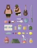 Obozować z niedźwiedzia setem Obraz Royalty Free