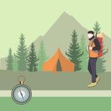 Obozowicza mężczyzna z plecakiem w lesie royalty ilustracja