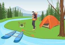Obozowicza mężczyzna z plecakiem w lesie ilustracja wektor