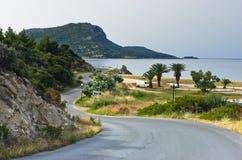 Obozowicza ulubiony miejsce dla wakacji blisko Destenika plaży w Sithonia Zdjęcia Stock