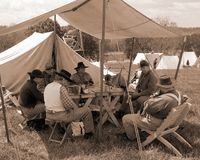 "Obozowisko Buntowniczy Reenactors przy ""Battle Liberty† - Bedford, Virginia Fotografia Stock"