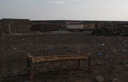 Obozowy miejsce blisko brzeg Salt Lake Karum aka Jeziorny Assale Asale lub, Danakil Daleko, Etiopia Obraz Royalty Free