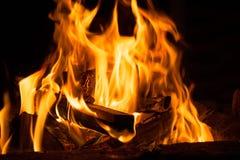 Obozowy ogień w nocy obraz stock