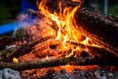 Obozowy ogień w nocy z płonącym drewnem i płomieniami obraz stock