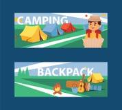 Obozu letniego sztandaru wektoru ilustracja Obozować i Podróżować na wakacje z różnym wyposażeniem Kreskówka podróżnik ilustracja wektor