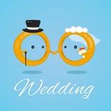 Obrączka ślubna projekta ilustraci wektorowy płaski charakter pannę młodą ceremonii ślub kościelny pana młodego Obrazy Royalty Free