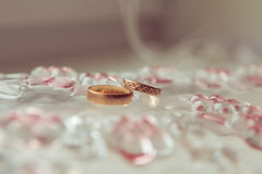 Obrączki ślubne dla kochanków na ślubie lub zobowiązaniu Fotografia Royalty Free