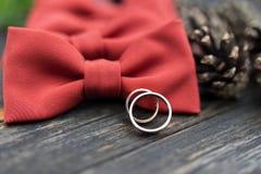 Obrączki ślubne na fornala krawacie Fotografia Stock