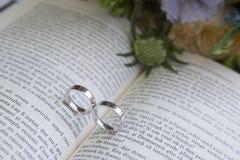 Obrączki ślubne na książce przed ślubem Zdjęcia Stock