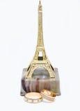 Obrączki ślubne na statuy wieży eifla Zdjęcia Stock