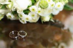 Obrączki ślubne na wiosny kwiatonośnym drzewie Obrazy Royalty Free