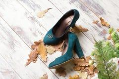 Obrączki ślubne na zielonych zamszowy butach Obraz Royalty Free