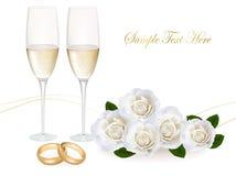Obrączki ślubne róża bukiet i szampan. Obraz Stock