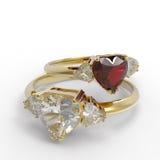 Obrączki ślubne z diamentowym sercem ilustracja 3 d Zdjęcia Royalty Free