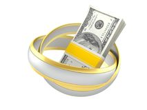 Obrączki ślubne z pieniądze Obrazy Stock
