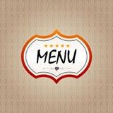 Obra clásica del folleto de la etiqueta engomada del menú del restaurante Fotografía de archivo