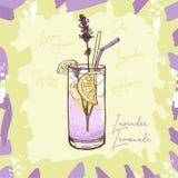 Obra cl?sica hecha en casa de la limonada de la lavanda en la taza de cristal con la cu?a de la paja de beber y de lim?n Clip art libre illustration